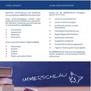 Nachhilfe Hamburg, der neue Flyer mit den Seiten 2 und 3.