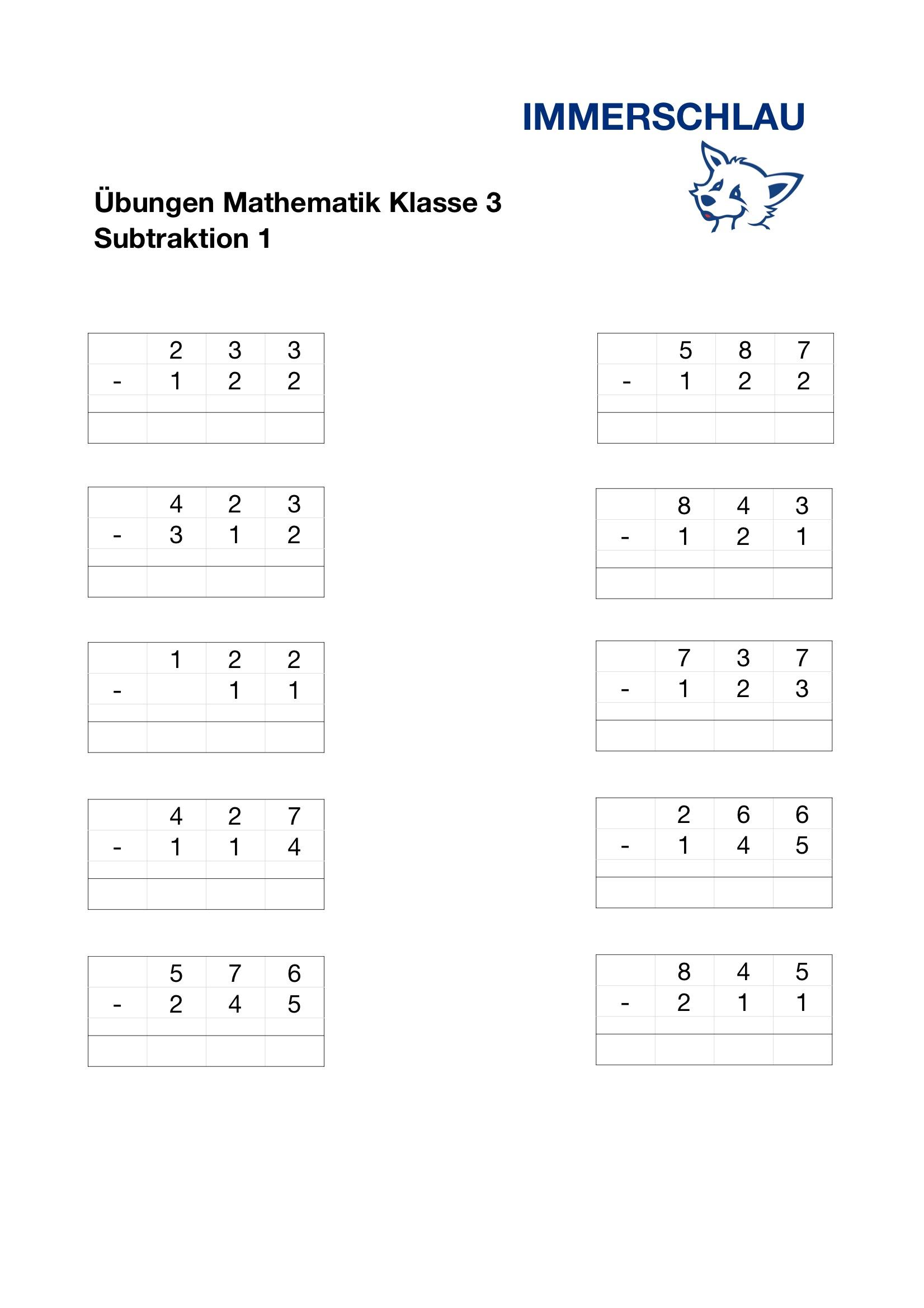 Mathematik Klasse 3 - Übungen zur Subtraktion